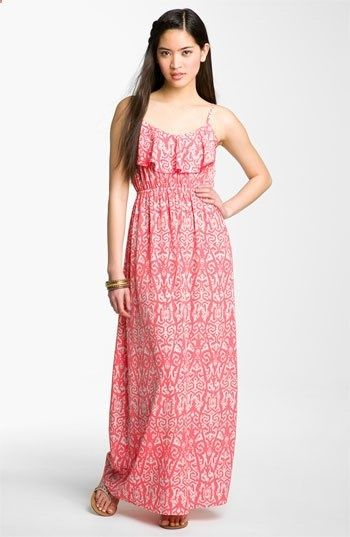 Soprano Milla Ruffle Maxi Dress- Im short and curvy, so long dresses with wedges make me look tall and thin.