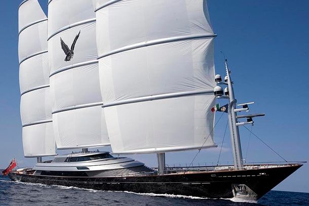 Maltese Falcon, Price: $120 million. With 5 staterooms and a submarine this sailing yacht owned by Elena Ambrosiadu of IKOS asset management in London is the largest in the world.