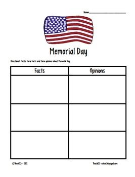 $3 - Memorial Day activities:  *History of the poppy  *Word Bank: 10 words  *ABC order  *Dictionary skills: Find the definition for 3 words and use the words in a sentence.  *List facts and opinions about Memorial Day  *Writing page