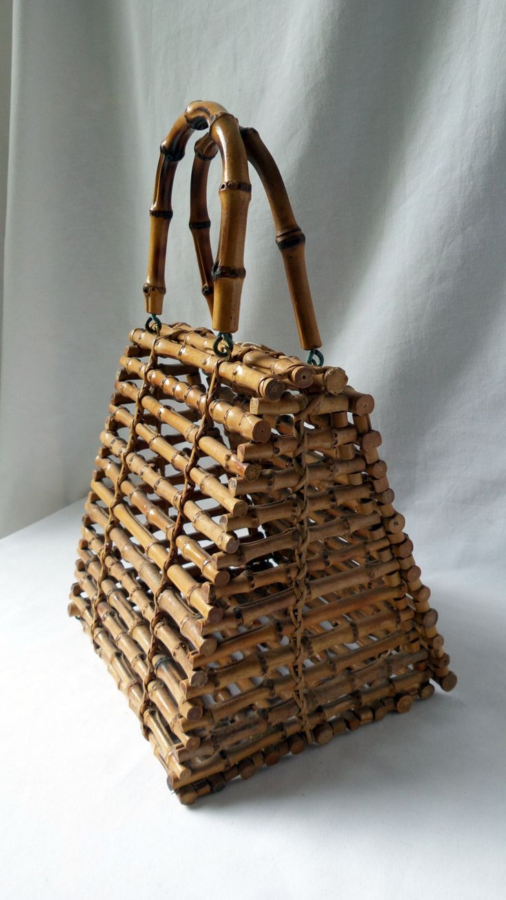 Sac à main original en bâtons de rotin vintage / sac à main rétro / portée main / pochette originale / cadeau femme original / rotin / 1950 de la boutique LaptiteGermaine sur Etsy