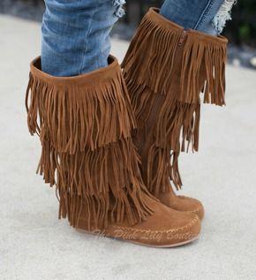 Brown Fringe Moccasin Boots