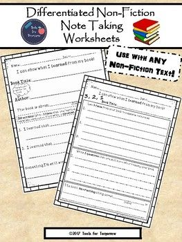 The possibilities are endless for these differentiated non-fiction note taking worksheets...silent/independent reading, a guided reading group activity, literacy center, reading homework response, etc. There are 2 levels in order to meet the wide range of ability levels in your classroom.