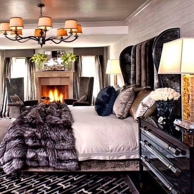 Cozy Master Bedroom: Love The Velvet And Soft Fur, Lighter Color Palette