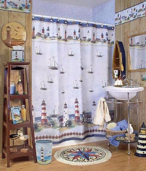 Light House Bathroom Idea!!!  Lord Knows We Have Enough Light house Decor For This!