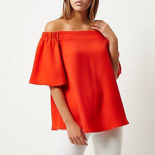 Red bardot top