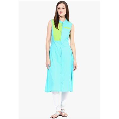 Buy Aqua long cotton kurti L size by Unique Fashion, on Paytm, Price: Rs.599?utm_medium=pintrest