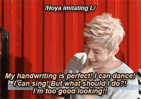 Myungsoo summed up by Hoya.