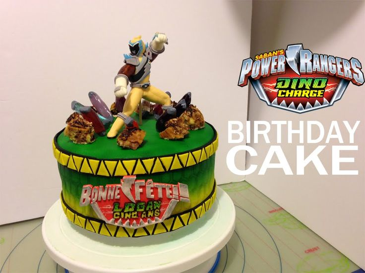 Power Rangers Dino Charge personalized birthday cake idea and tutorial