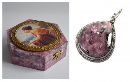 DCPG.ru Имитация чароита. Чароит — минерал пироксеновой группы подкласса цепочечных силикатов и одноимённая горная порода. Имеет очень красивый сиреневый цвет разнообразных оттенков.