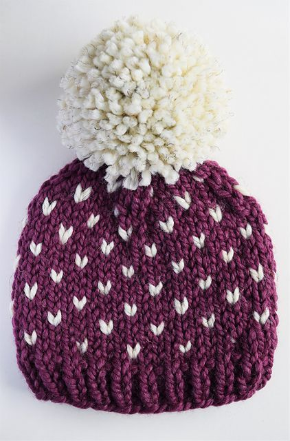 Make this cute Little Hearts Fair Isle Hat with Lion Brand Wool-Ease Thick & Quick!