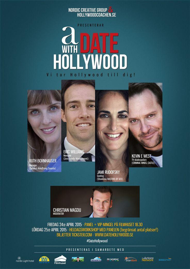 Du som älskar skådespeleri, manus, regi och film - kom och låt dig inspireras av en expertpanel från Hollywood. Och träffa dem sen på VIP-mingel och workshop. #DateHollywood.  #RuthBornhauser. #EricWilliams. #JamiRudofsky. #KevinEWest. #ChristianMagdu  Mer info på: www.datehollywood.se