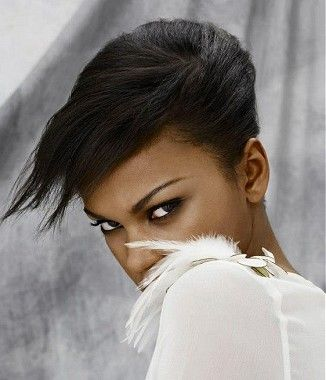 A short black straight relaxed black ethnic womens hairstyle by Z.One Concept