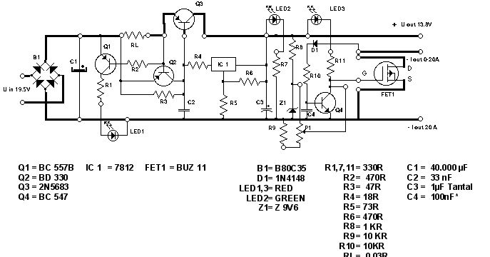 this is the simple 13 8v and 20a dc power supply circuit diagram  the circuit was designed to