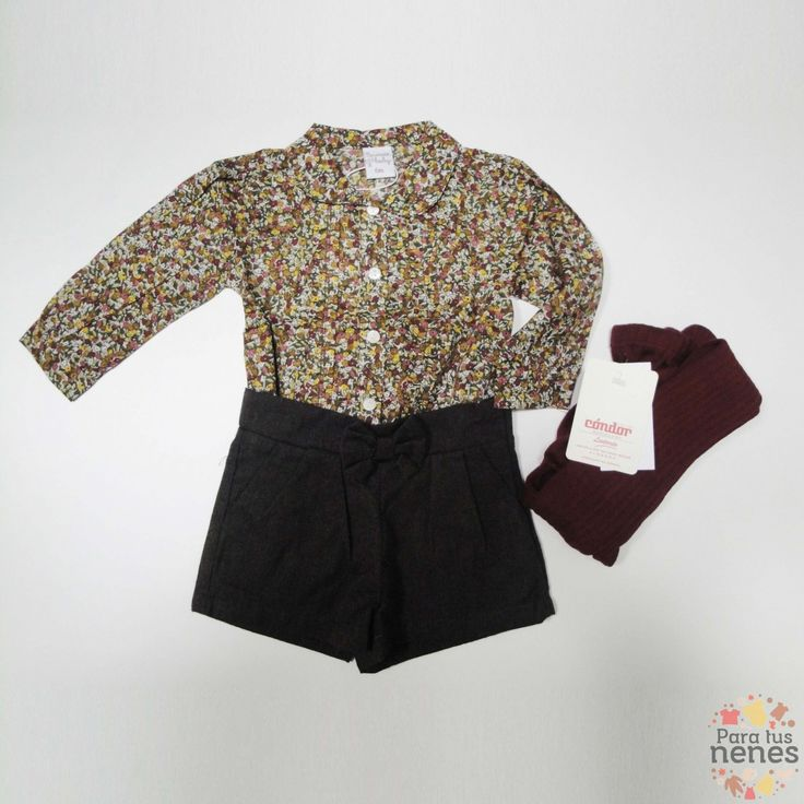 El look de hoy es para las niñas de entre 3 y 24 meses. En esta ocasión os proponemos un precioso short marrón de franela y una camisa estampada.  Por cierto solo por 36'79€