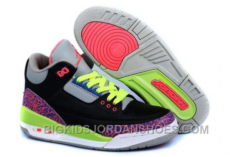 http://www.bigkidsjordanshoes.com/fashion-nike-air-jordan-3-kids-2014-black-grey-pink-green-cheap.html FASHION NIKE AIR JORDAN 3 KIDS 2014 BLACK GREY PINK GREEN CHEAP Only $85.00 , Free Shipping!