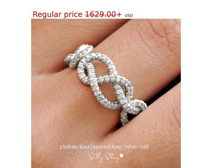 Venta caliente 20% infinito Triple nudo anillo 0,75 CT diamante boda Band, anillo de bodas de oro de 14K, Cluster Ring, anillo Art Deco, anillo infinito