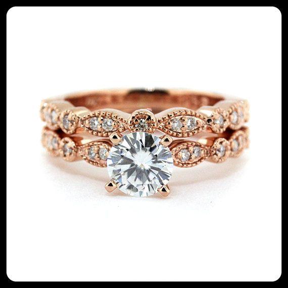 Vintage Wedding Set Moissanite with Diamonds in 14k Rose Gold - Ring Name: Sweet Bliss