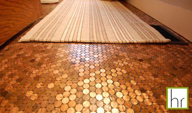 Penny Floor Tutorial: Ideas, Floors, Penny Floor, Pennies Floor, Happyroost Interiors, Bathroom, Floor Tutorial, Diy, Pennyfloor