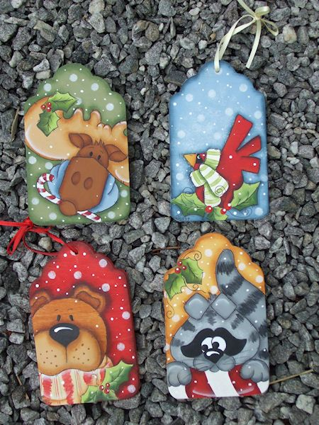 Woodland Critters-Christmas, Ornaments, moose,bear,holiday,painting,patterns