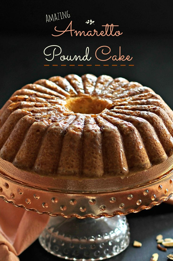 Amazing Amaretto Pound Cake - three-almond pound cake drizzled with Amaretto Glaze and topped with toasted almonds. Perfection! Simply Sated