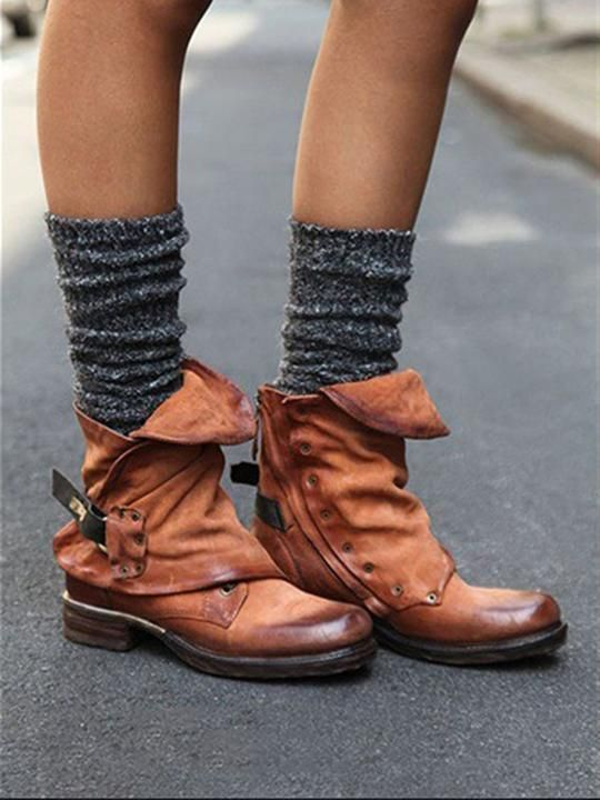 4334c20f3210a Fashion Ankle Buckle Martin Low-heel Boots Shoes | Lady Threads ...