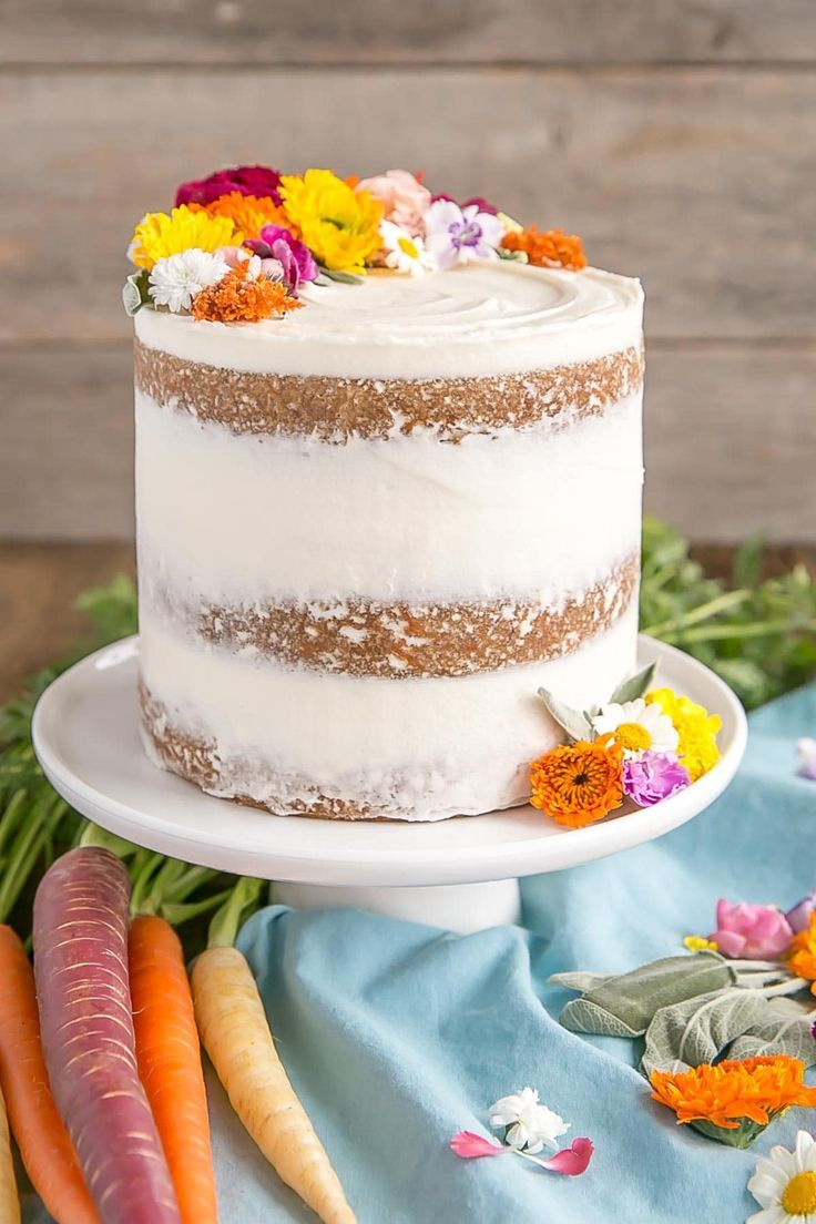 Carrot Cake With Edible Flowers With Images Carrot Cake Recipe