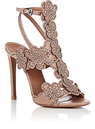 20b77c7631c2a Alaïa Studded Flower-Embellished Leather Sandals - Heels - 505545577 ...