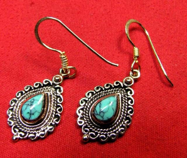 BRONZE TURQUOISE EARRINGS RT 281  NATURAL TURQUOISE GEMSTONE EARRINGS GEMSTONE  , FROM GEMROCKAUCTIONS.COM
