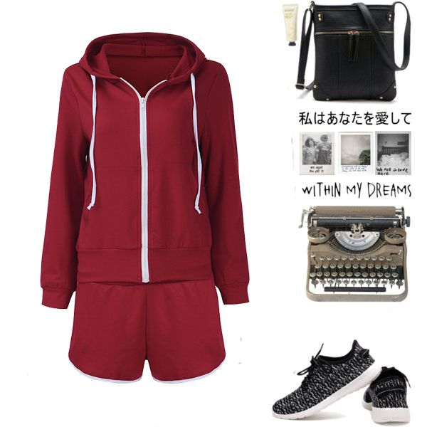 Wine Red Casual Women Zipper Hooded Sweatshirt +Drawstring Shorts Sets