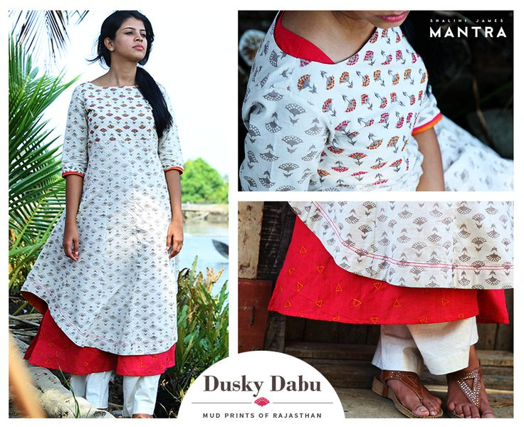 A collection of kurtas in Dabu-printed fabrics with eye-catching embroidery and detailing that highlight the beauty of this ancient mud-resist printing. Dusky dabu is out in our stores.  SHOP NOW at http://bit.ly/24iqmvt