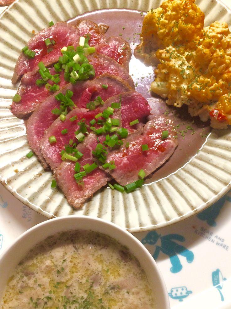 牛肉のたたき カリフラワークリーム煮 マッシュルームのポタージュ