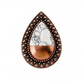 BOHEMIAN BARDOT RING - ROSE GOLD DIPPED WHITE HOWLITE