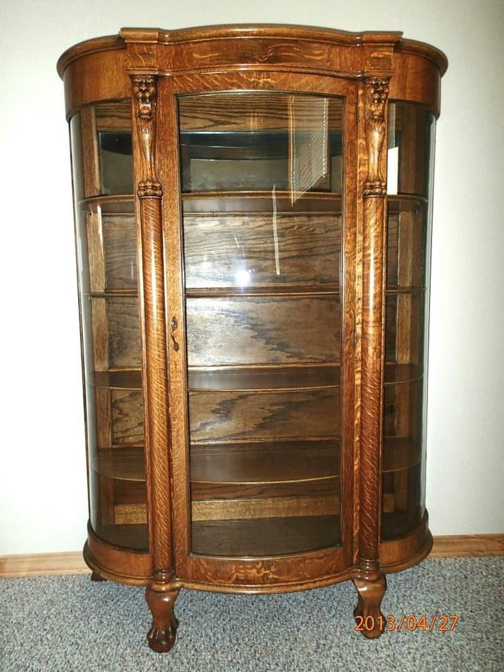 Antique Tiger Oak Bowed Glass Curio China Cabinet c 1900