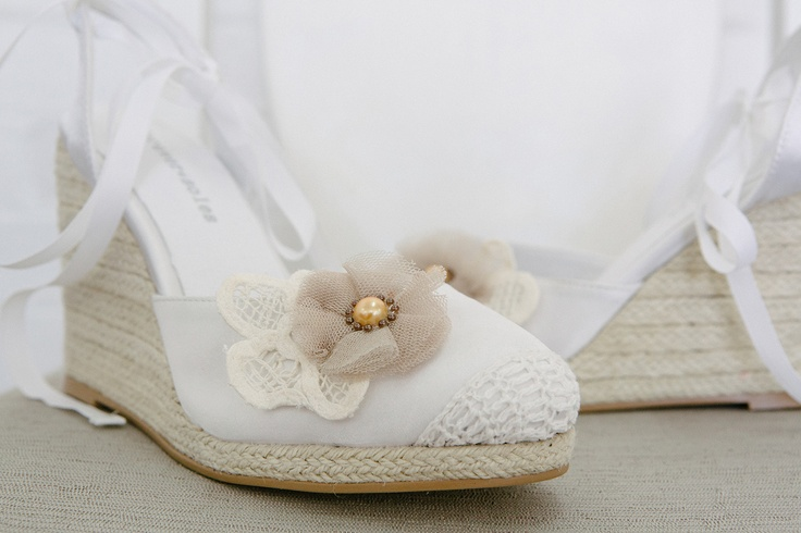 Vintage wedding shoes with flowers added to our espadrille wedges. Perfect comfortable shoes for your outdoor wedding. Available now: www.foreversoles.com