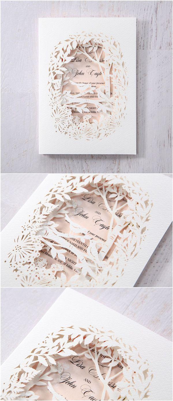 elegant blush and white laser cut wedding invitations