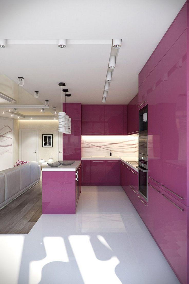 cocina pequeña con muebles purpura