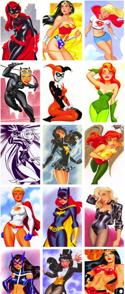 Batwoman, Wonder Woman, Supergirl, Catwoman, Harley Quinn, Poison Ivy, Raven, Ms. SHAZAM, Hawkgirl, Powergirl, Batgirl, Black Canary, Huntress, Zatanna, Big Barda! DC Heroes by Bruce Timm