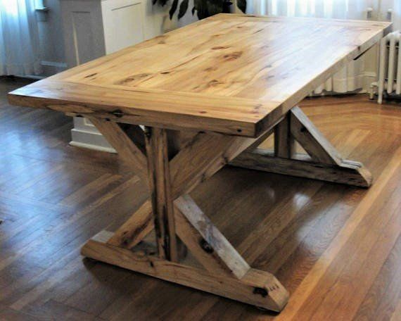 Rustic Solid Hickory Trestle Table Dining Table Rustic Dining