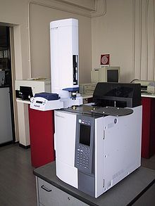 Gas chromatography: used in analytical chemistry for separating & analyzing compounds that can be vaporized w/o decomposition; typical uses: testing purity of a substance or separating the different components of a mixture (relative amounts can also be determined); may help identify a compound; mobile phase: carrier gas (inert gas); stationary phase: microscopic layer of liquid on solid support inside column; compds interact w/ walls of column, compds elute at different times: retention time