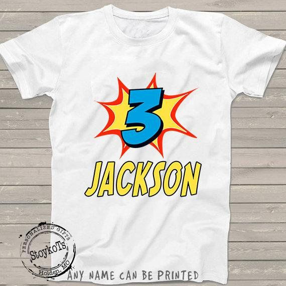 Superhero Birthday Shirt For Boys 3rd Personalized T Kids Any Number Can Be Printed Or Girls
