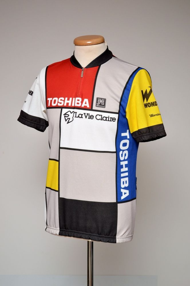 80s SMS SANTINI La vie Claire Toshiba Cycling Jersey size XL to fit men M  Italy e98db76c9