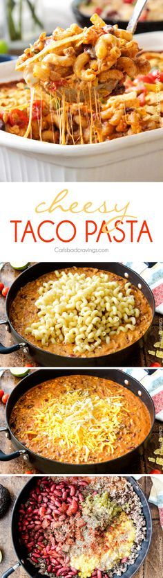 LIGHTER Cheesy Taco Pasta is my husband's absolute favorite pasta! Juicy beef, beans, pasta etc., smothered in an incredible creamy Enchilada-esque sauce out of this world delicious! Your whole family will LOVE this and its super easy!