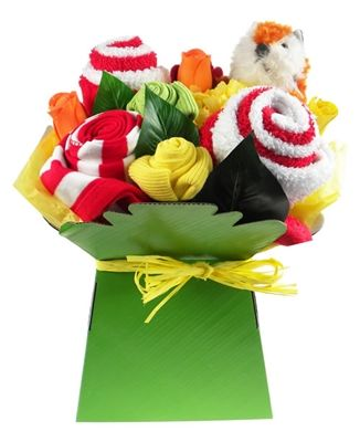 This bright bouquet arrangement of baby clothes is packed with socks, a gorgeous red stripy romper, baby wash-cloths and a fun soft toy.  Beautifully presented and complete with artificial flower detail and hand-wrapped in cello, this unique clothes flower arrangement is a great fun gift. A splendid bright and colourful baby gift that is perfect for baby boy or girl.