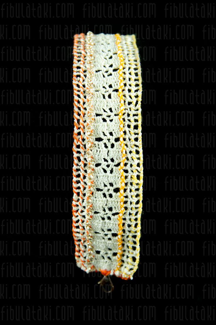 Fibula Takı - Çeyiz Sandığı Serisi / Bileklik - örgü - dantel - beyaz, turuncu, sarı