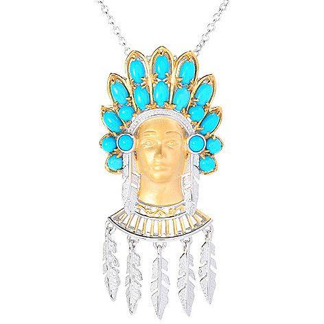 "144-506- Gems en Vogue Sleeping Beauty Turquoise Warrior & Feather Pendant w/ 18"" Rolo Chain"