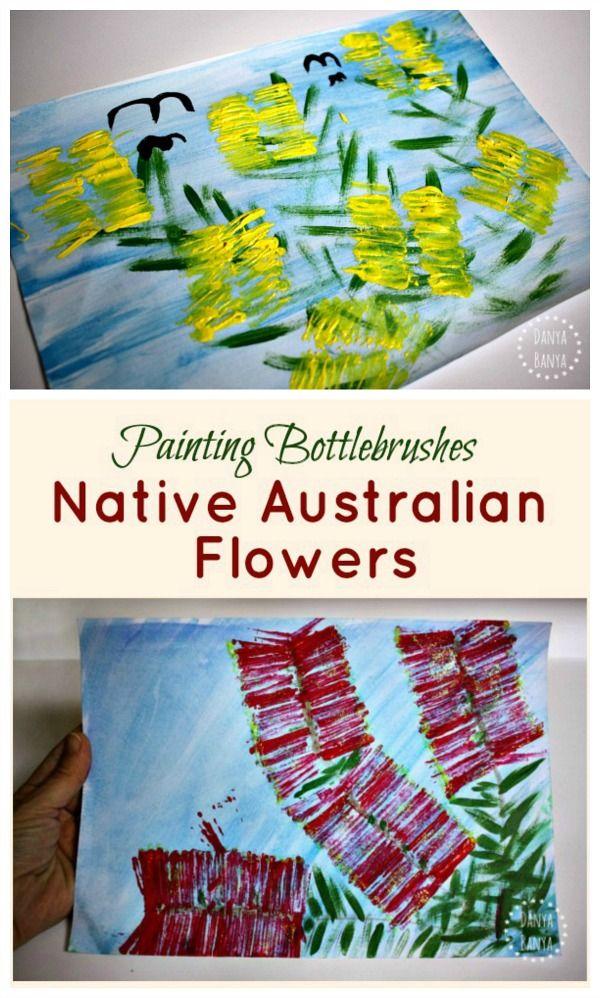 Painting bottlebrushes Australian native flower art for kids
