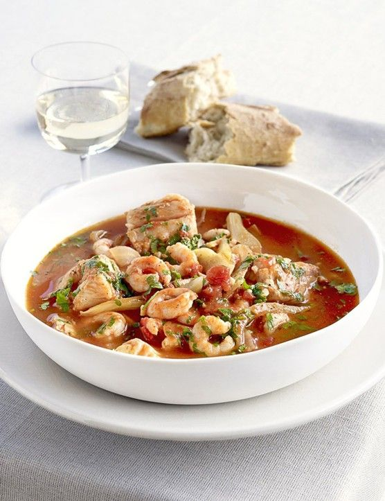 Mediterranean fish stew     A warming fish stew, made with fennel, prawns, white fish and tomatoes. Mop up any leftover juices with some crusty white bread.