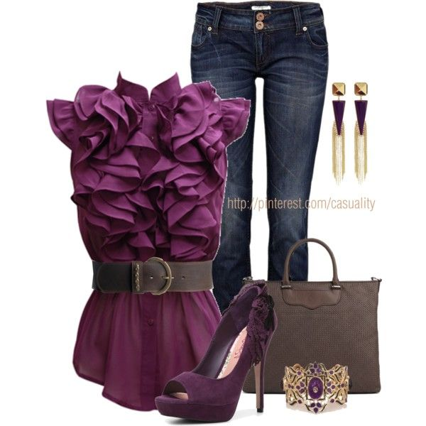 """""""Purple Ruffles & Open-toed Pumps"""" by casuality on Polyvore"""