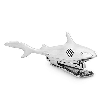 This pewter shark stapler makes a mischievous addition to any desk.