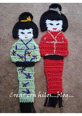 Crochet Kokeshi Bookmark - Tutorial